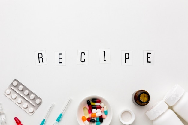 Pills recipe on desk