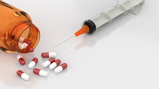 Pills and syringe on a white background. 3d rendering.