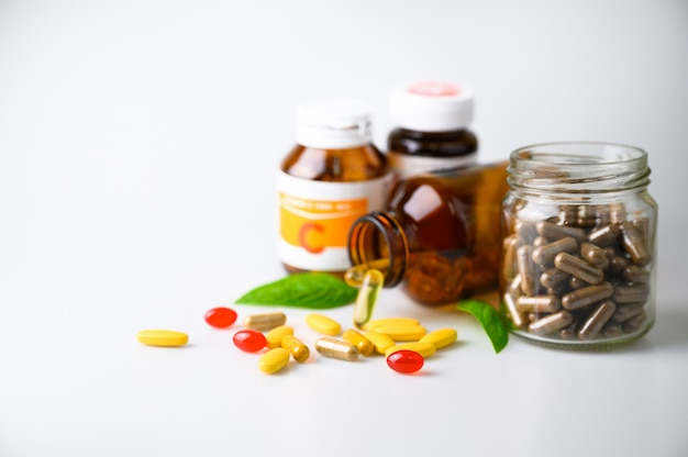 Pills tablet, capsule and vitamin organic supplements