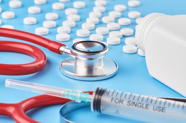 Pills tablets capsules closeup.
