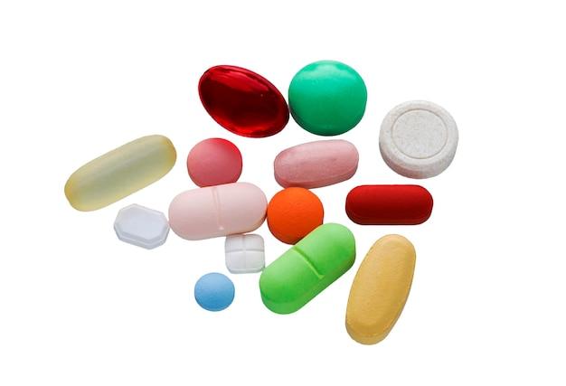 丸薬、白い背景で隔離の錠剤。