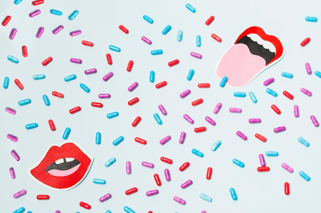 Pills with a drawn mouth