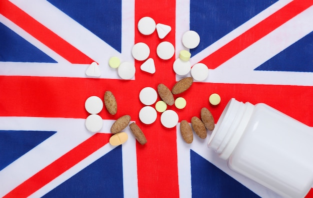 Pills with the flag of great britain.