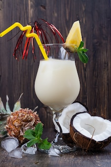 Pina colada cocktail and ingredients