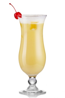 Pina colada drink cocktail glass isolated on white