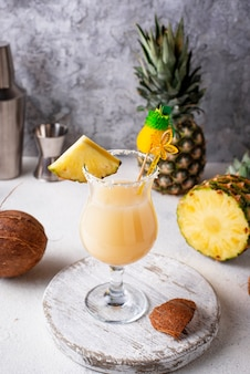 Pina colada. traditional caribbean cocktail