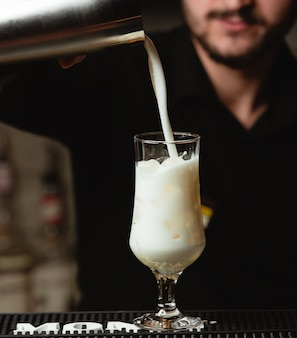 Pinacolada cocktail in long glass