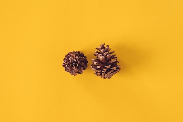 クリスマスの装飾、黄色の背景に松のコーン。