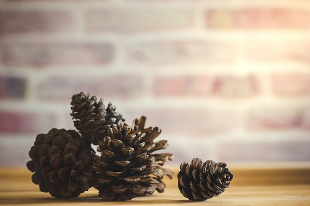 Pine cone on wooden table and brick wall background with morning sunlight.
