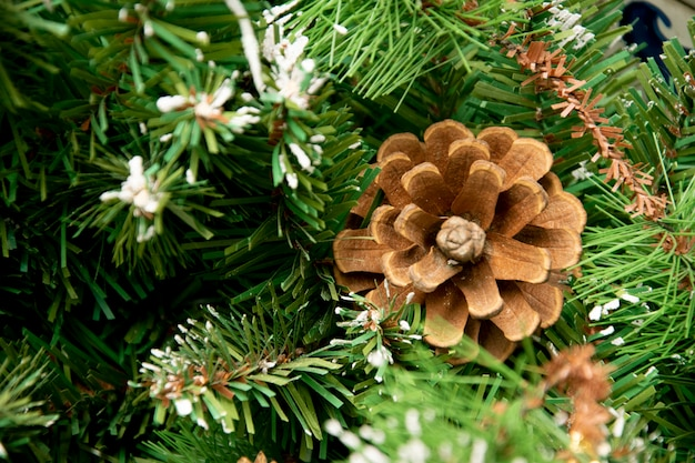 Pine cones on on christmas tree decoration over festive background