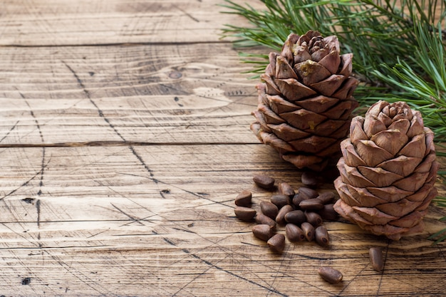 Pine cones and spruce branche.