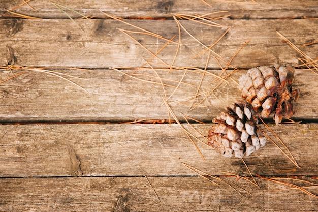Pine cones on wooden texture