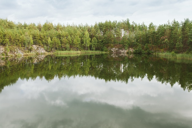 Pine forest reflected in the quary lake. ukraine