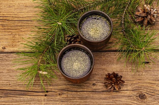 Pine needle tea, sollip-cha, traditional korean beverage. alternative medicine, healthy life style