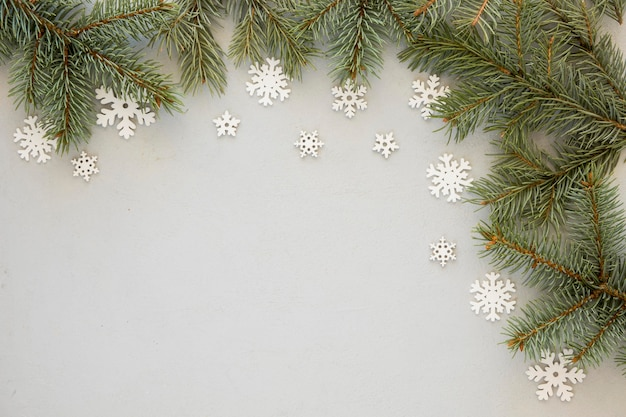 Pine needles on snowflakes background