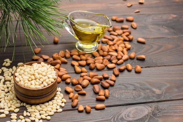 Pine nut kernels in wooden box.