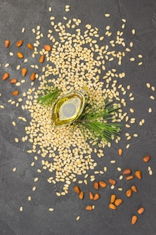 Pine nuts, pine nut oil and cedar branch on grey concrete. flat lay
