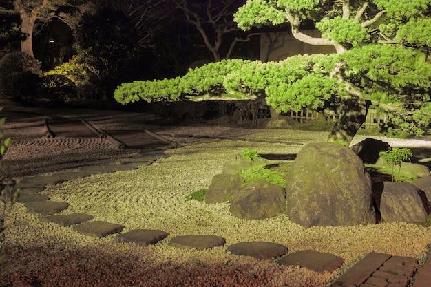 Pine tree inside japanese zen garden with stone way around and scenic night illumination