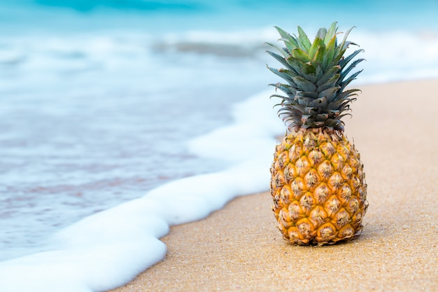 Pineapple on the background of the sea