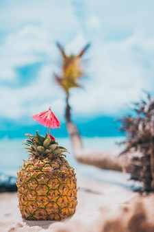 A pineapple in the beach with blue water behind and wave