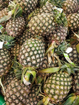 Pineapple counters in the grocery section of the supermarket.