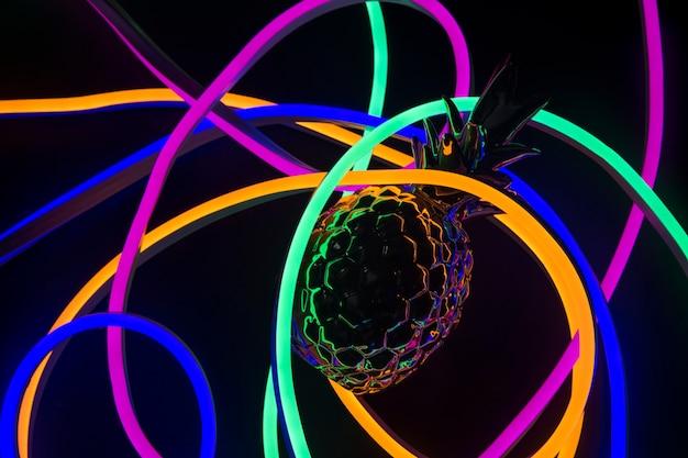 네온 불빛으로 덮인 파인애플