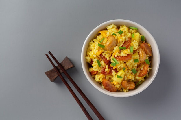 Pineapple fried rice on table