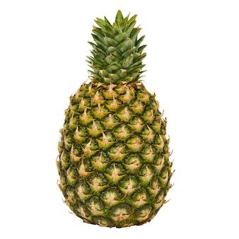 パイナップルの果実は、白い表面、浅い被写界深度で孤立してクローズアップ