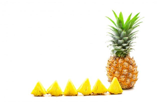 Pineapple fruit sliced on white background