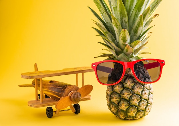 Ананас в солнцезащитных очках стоит с модельной плоскостью
