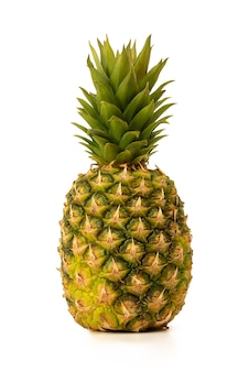 Pineapple is isolated. whole fresh juicy with leaves on a white background. with a shadow.