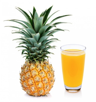 Pineapple juice and pineapple isolated on white