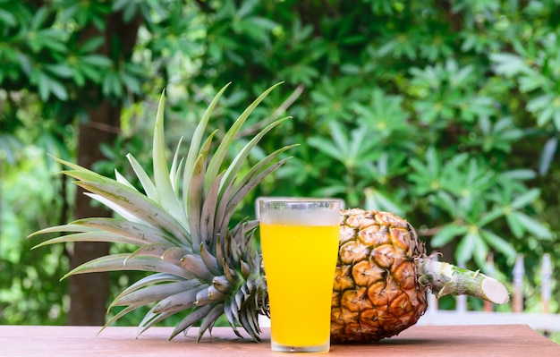 Pineapple juice in glass  with fresh fruits