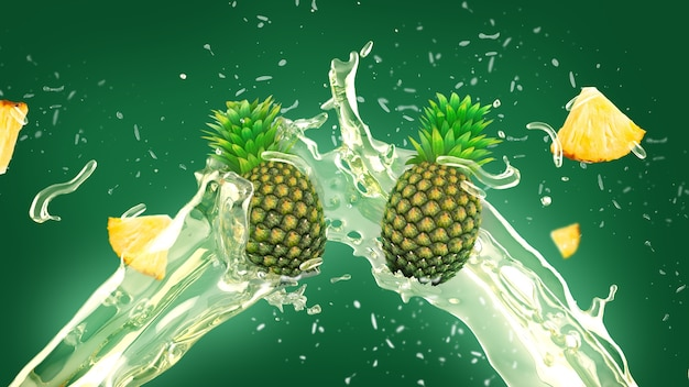 Pineapple juice splash background