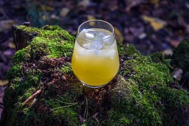 パイナップル、マンゴー、レモンは苔のある木のガラス張りのアウトドールで飲みます。角氷と冷たい黄色のカクテル。夏のアルコール飲料のある風光明媚な静物。