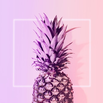 Pineapple in neon color