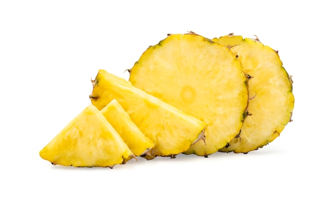 Pineapple in a piece round shape with peel on white isolated background with clipping path.