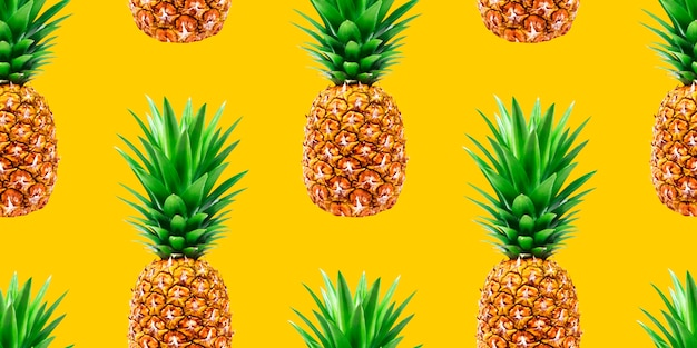 Pineapple seamless pattern on yellow background