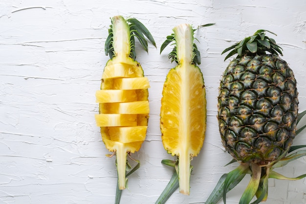 Pineapple slices on top view