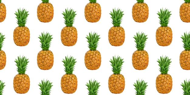 Pineapples, ananas seamless pattern isolated on white background