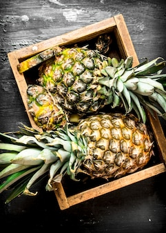 Pineapples in an old box on black chalkboard