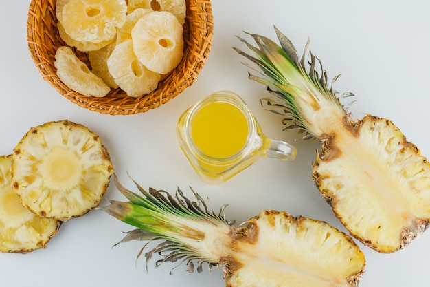 Pineapples with juice and candied rings