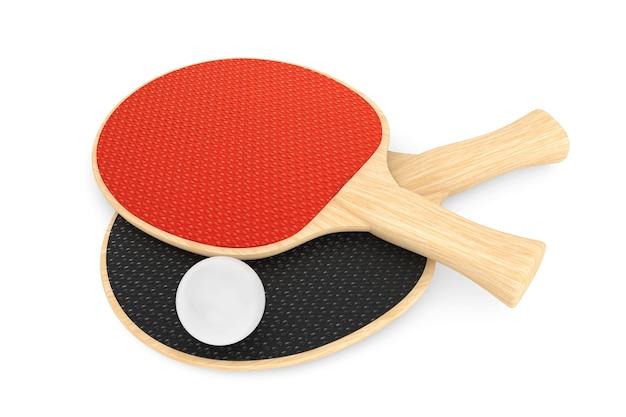 Ракетки для пинг-понга и мяч на белом фоне