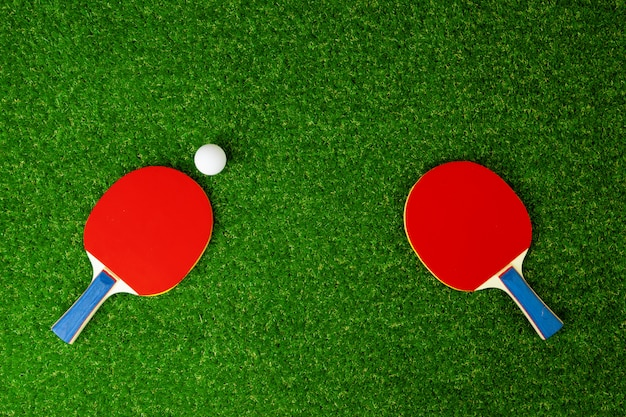 Ping pong rackets and ball on grass