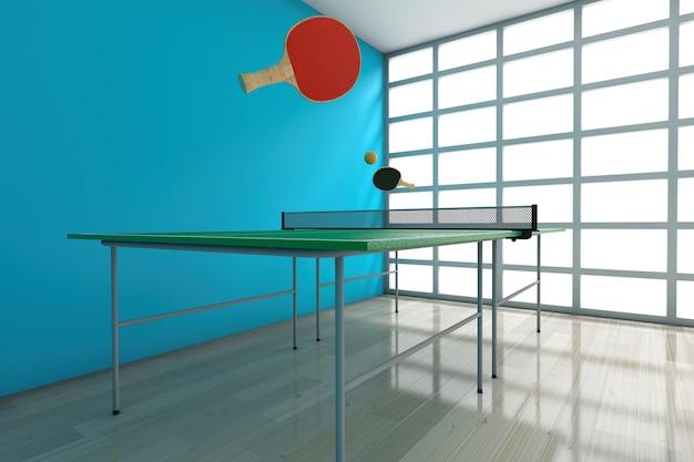 방의 빈 파란색 벽에 패들이 있는 탁구 테니스 테이블. 3d 렌더링