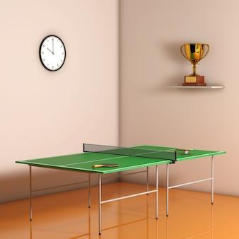 방에 있는 벽에 패들이 있는 탁구 탁구대. 3d 렌더링