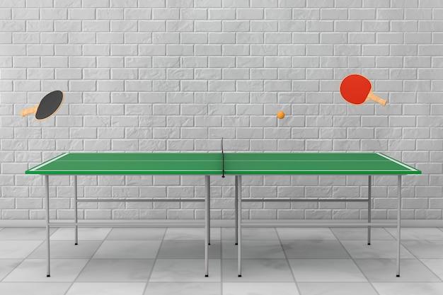 벽돌 벽 앞에 패들이 있는 탁구 탁구대. 3d 렌더링