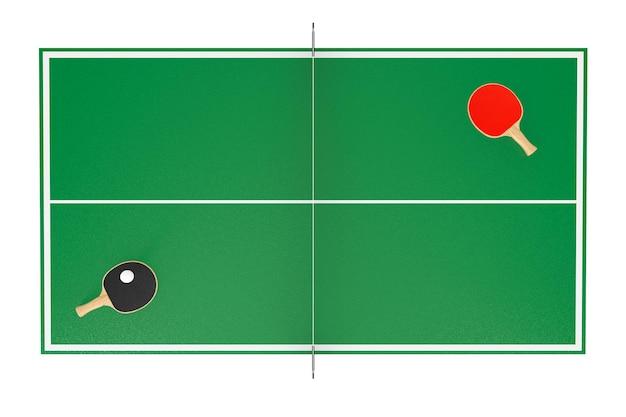 Настольный теннис теннисный стол с ракетками на белом фоне