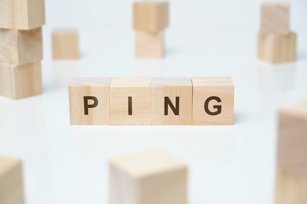 Ping word on wooden blocks