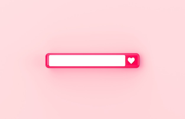 Pink 3d blank search bar with heart icon on isolated background.